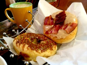 Chocolate Sprinkle and Maple Bacon donuts at Bennett's Fresh Roast in Fort Myers, FL.